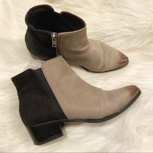 Grey City colour block leather ankle boots